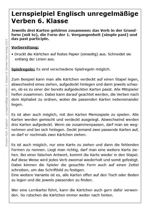 Lernspiel Englisch unregelmäßige Verben 6 (E-Book PDF)