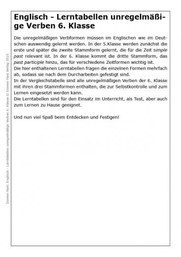 Lerntabellen Englisch unregelmäßige Verben 6. Klasse (E-Book PDF)