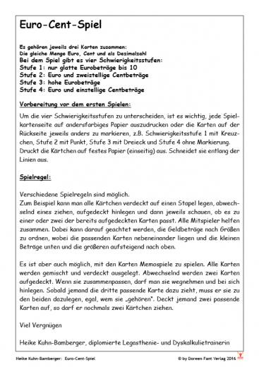Euro-Cent-Spiel (E-Book PDF)