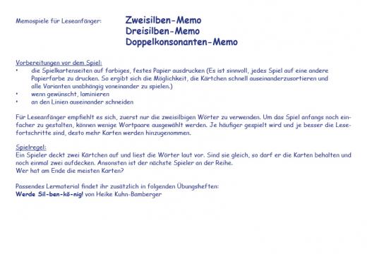 Silben-MemoSpiel (E-Book PDF)