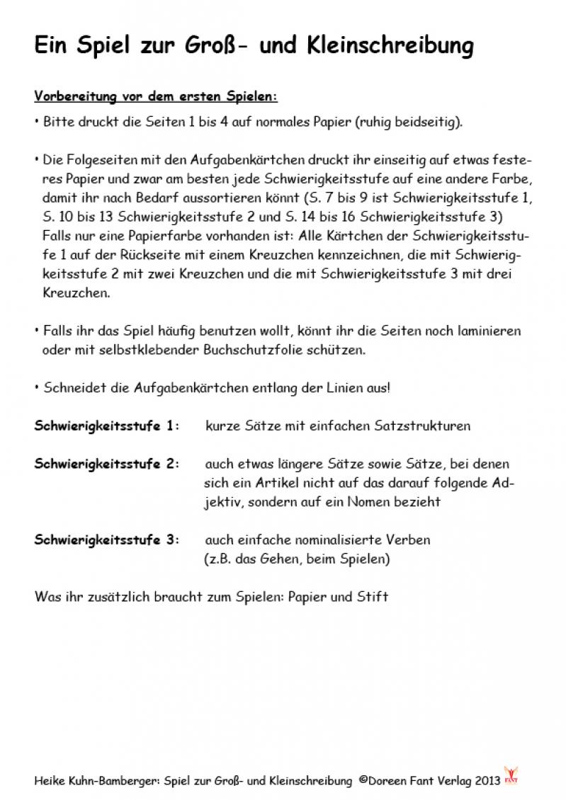 Heike Kuhn-Bamberger: Spiel zur Gross- und Kleinschreibung